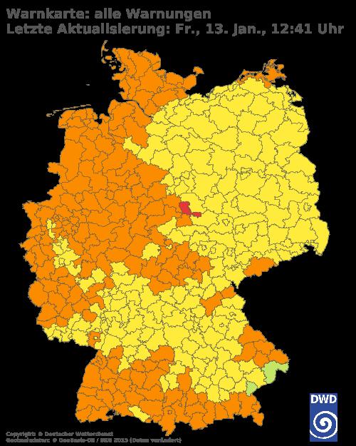 Aktuelle Wetterwarnungen für Odenwaldkreis